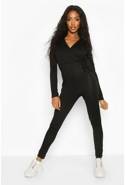 Womens Black Loopback Wrap Tie Casual Jumpsuit