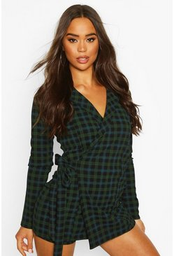 Green Tartan Check Tailored Jersey Playsuit