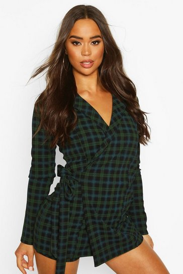Womens Green Tartan Check Tailored Jersey Playsuit