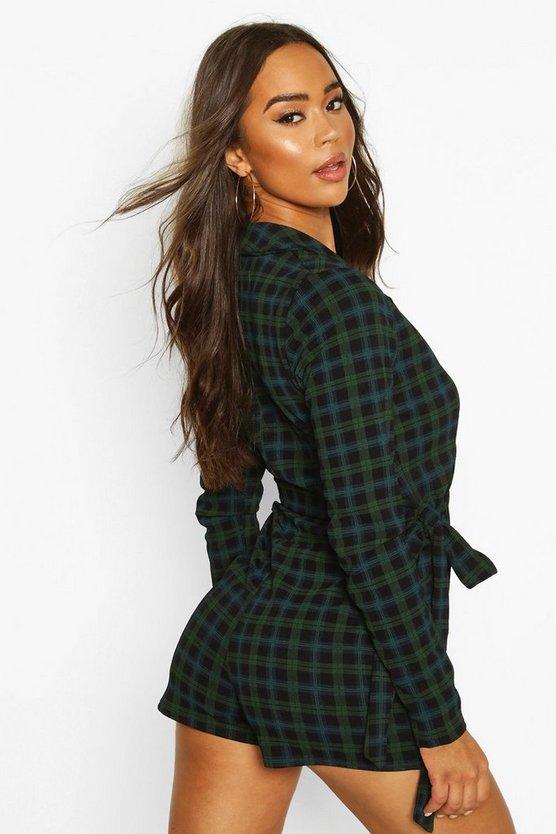 Tartan Check Tailored Jersey Playsuit
