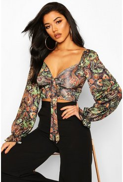 Womens Black Tie Front Wide Sleeve Printed Cuff Detail Crop Top