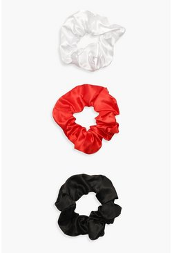 3 Pack Satin Scrunchie, Red