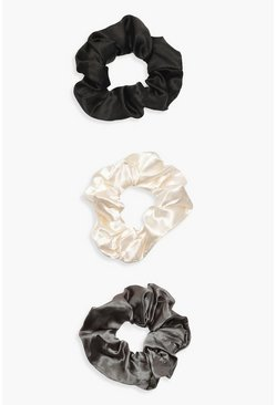 3 Pack Satin Scrunchie, Black