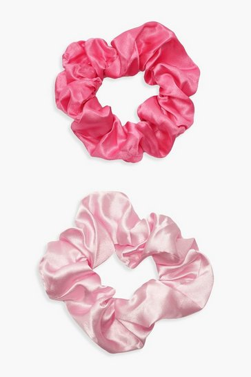Womens 2 Pack Pink Satin Scrunchie