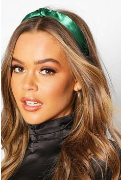 Twist Knot Satin Headband, Emerald, FEMMES