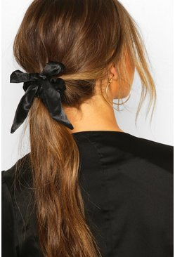 Dam Black Bow Detail Hair Scrunchie