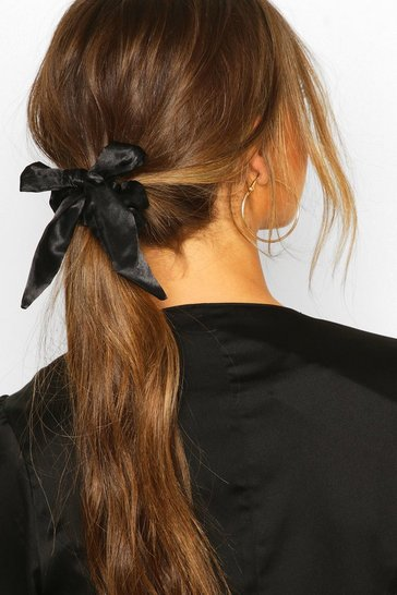 Womens Black Bow Detail Hair Scrunchie