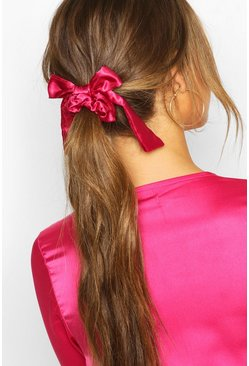 Bow Detail Hair Scrunchie, Pink