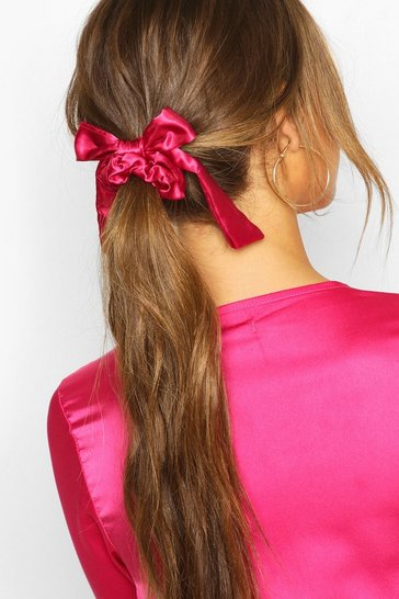Pink Bow Detail Hair Scrunchie