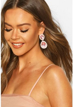 Tear Drop Diamante Gem Earrings, Pink
