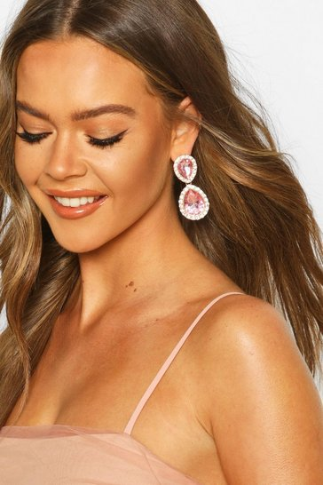Pink Tear Drop Diamante Gem Earrings