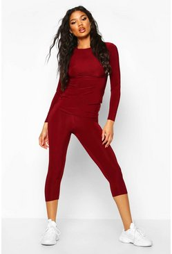 Soft Touch Capri Gym Leggings, Berry, DAMEN