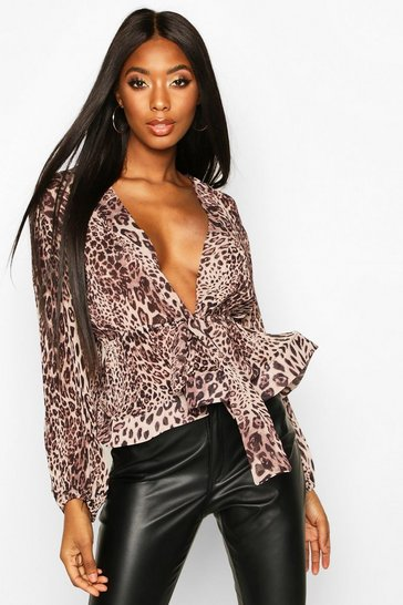Womens Brown Leopard Crinkle Fabric Tie Front Blouse