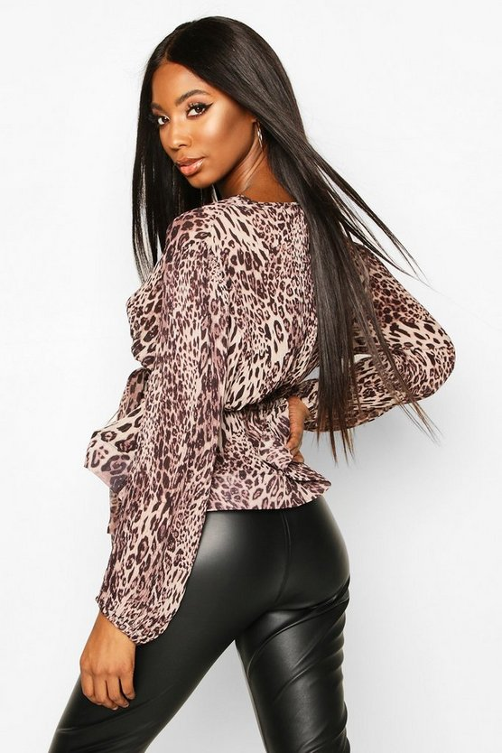 Leopard Crinkle Fabric Tie Front Blouse
