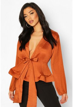 Rust Woven Crinkle Tie Front Blouse