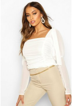 Mesh Ruched Tie Shoulder Top, White, FEMMES
