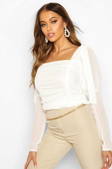 Womens White Mesh Ruched Tie Shoulder Top