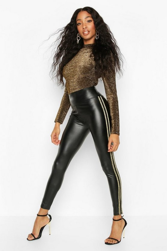 Gold PU Legging With Side Stripe