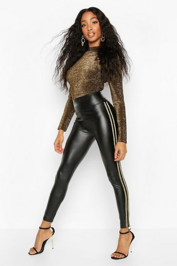 Womens Gold PU Legging With Side Stripe