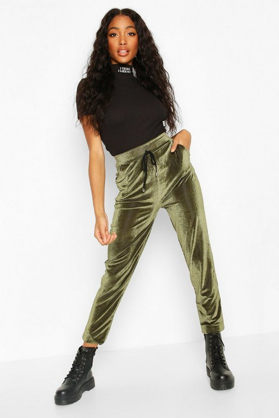 Khaki Velour Cord Effect Jogger With Pocket Detail