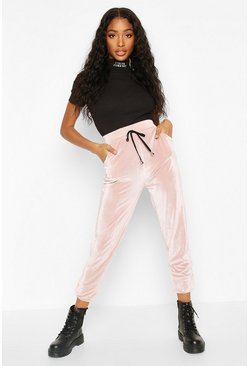 Pink Velour Cord Effect Jogger With Pocket Detail