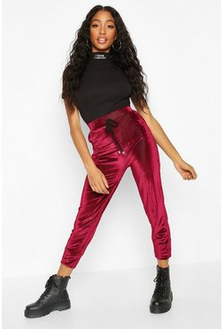 Wine Velour Cord Effect Jogger With Pocket Detail