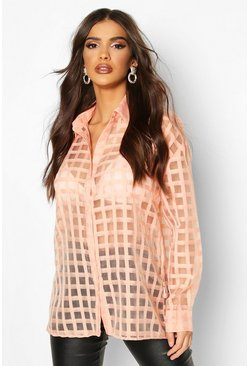 Check Organza Button Through Shirt, Blush, DAMEN