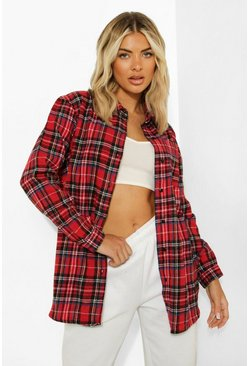 Womens Red Woven Check Shirt