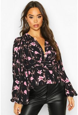 Womens Black Woven Floral Oversized Sleeve Blouse