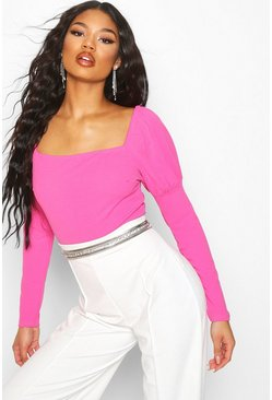 Womens Hot pink Crepe Square Neck Puff Sleeve Bodysuit