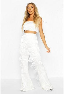 White All Over Tassel Flared Pants