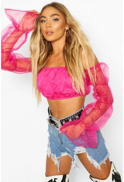 Pink Organza Ruffle Sleeve Crop Top