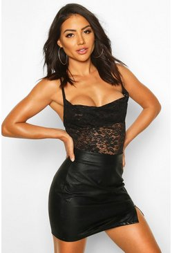 Lace Cowl Neck Bodysuit, Black, FEMMES