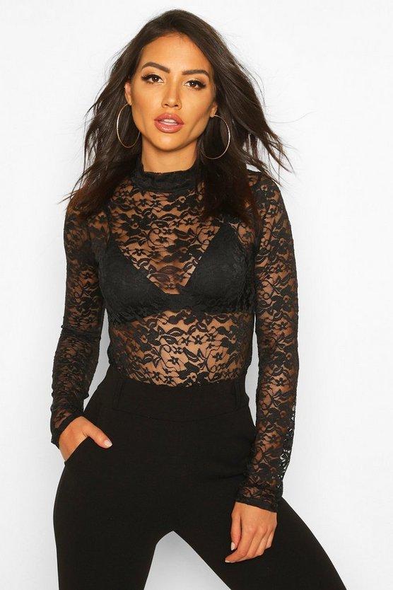 Lace High Neck Long Sleeve Bodysuit