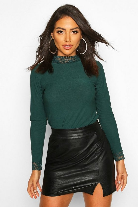 Emerald Lace Detail High Neck Long Sleeve Top