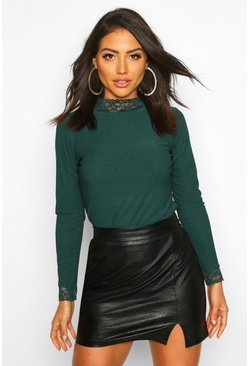 Womens Emerald Lace Detail High Neck Long Sleeve Top