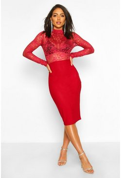 Womens Berry Laced Detail High Neck Midi Dress