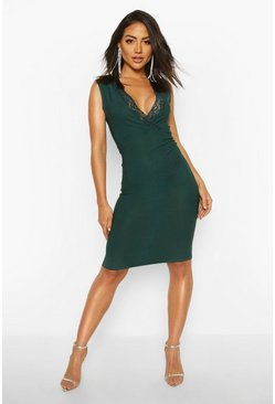 Lace Detail Plunge Midi Dress, Emerald, FEMMES