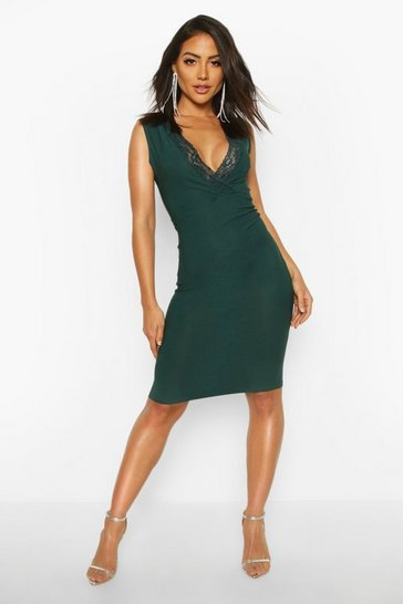 Womens Emerald Lace Detail Plunge Midi Dress
