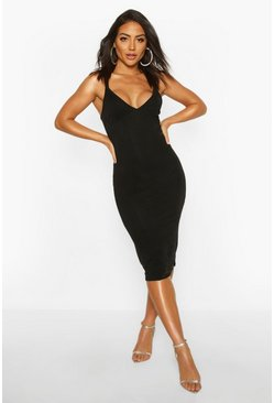 Womens Black Lace Insert Strappy Midi Dress