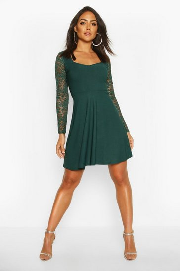 Emerald Lace Sleeve Plunge Skater