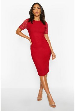 Lace Sleeve Bodycon Midi Dress, Berry, FEMMES