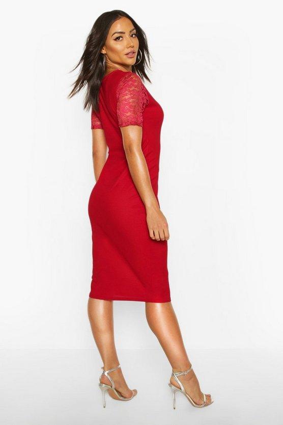 Lace Sleeve Bodycon Midi Dress