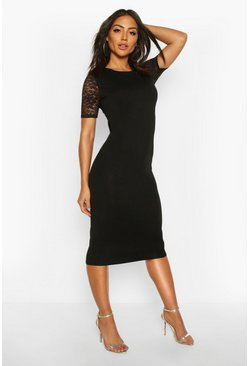 Lace Sleeve Bodycon Midi Dress, Black