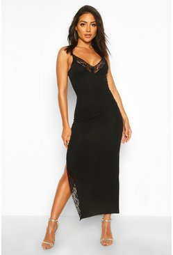 Black Lace Detail Split Midaxi Dress
