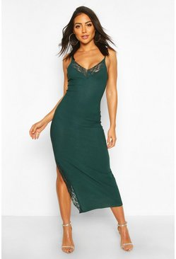 Lace Detail Split Midaxi Dress, Emerald, FEMMES