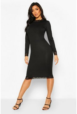 Lace Detail High Neck Long Sleeve Midi Dress, Black, FEMMES
