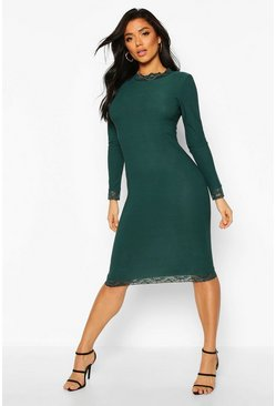 Emerald Lace Detail High Neck Long Sleeve Midi Dress