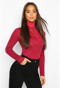 Wine Lace High Neck Ribbed Long Sleeve Top
