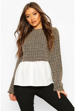 Camel Boucle High Neck Shirt